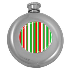 Christmas Holiday Stripes Red Round Hip Flask (5 Oz)