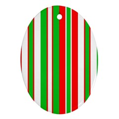 Christmas Holiday Stripes Red Oval Ornament (two Sides)
