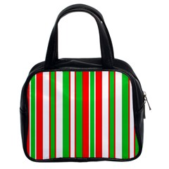 Christmas Holiday Stripes Red Classic Handbags (2 Sides)