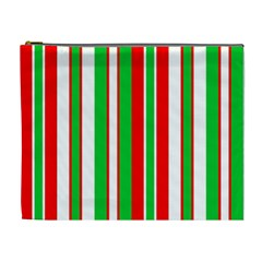 Christmas Holiday Stripes Red Cosmetic Bag (xl)