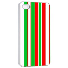 Christmas Holiday Stripes Red Apple Iphone 4/4s Seamless Case (white)