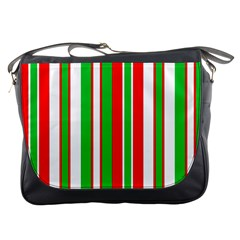 Christmas Holiday Stripes Red Messenger Bags