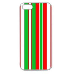 Christmas Holiday Stripes Red Apple Seamless Iphone 5 Case (clear)