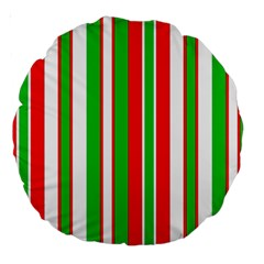 Christmas Holiday Stripes Red Large 18  Premium Round Cushions