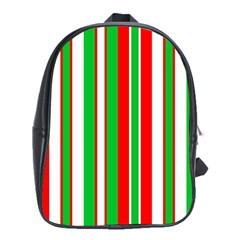 Christmas Holiday Stripes Red School Bag (xl)