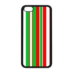 Christmas Holiday Stripes Red Apple Iphone 5c Seamless Case (black)