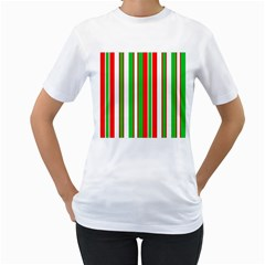 Christmas Holiday Stripes Red Women s T Shirt (white)