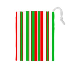 Christmas Holiday Stripes Red Drawstring Pouches (large)