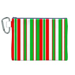 Christmas Holiday Stripes Red Canvas Cosmetic Bag (xl)