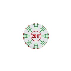 Snowflake Graphics Date Year 1  Mini Magnets