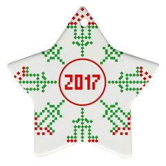Snowflake Graphics Date Year Ornament (star)