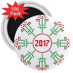 Snowflake Graphics Date Year 3  Magnets (100 Pack)