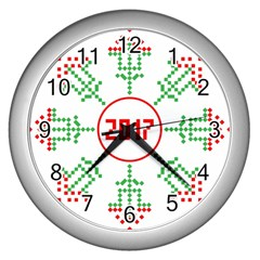 Snowflake Graphics Date Year Wall Clocks (silver)
