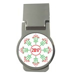Snowflake Graphics Date Year Money Clips (Round)  Front