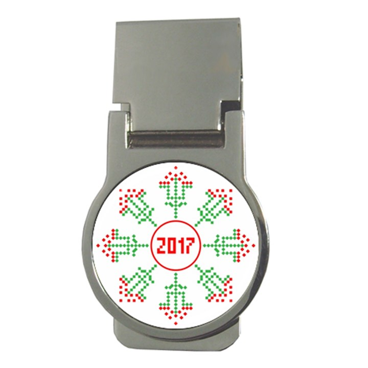 Snowflake Graphics Date Year Money Clips (Round)