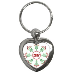 Snowflake Graphics Date Year Key Chains (heart)