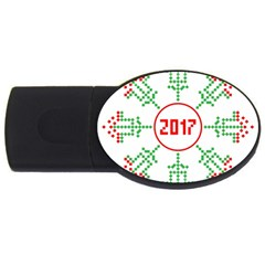 Snowflake Graphics Date Year Usb Flash Drive Oval (2 Gb)