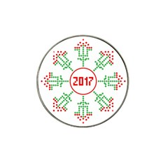Snowflake Graphics Date Year Hat Clip Ball Marker (4 Pack)