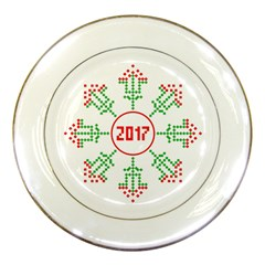 Snowflake Graphics Date Year Porcelain Plates