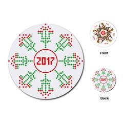Snowflake Graphics Date Year Playing Cards (round)