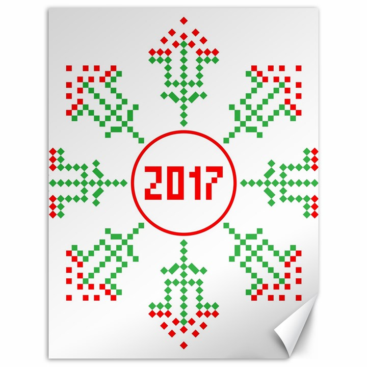 Snowflake Graphics Date Year Canvas 12  x 16