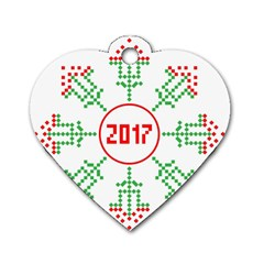 Snowflake Graphics Date Year Dog Tag Heart (two Sides)