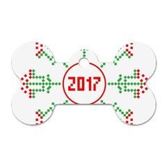 Snowflake Graphics Date Year Dog Tag Bone (two Sides)