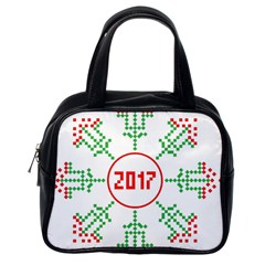 Snowflake Graphics Date Year Classic Handbags (one Side)