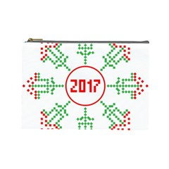 Snowflake Graphics Date Year Cosmetic Bag (large)