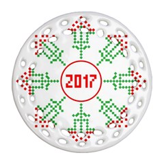 Snowflake Graphics Date Year Ornament (round Filigree)