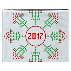 Snowflake Graphics Date Year Cosmetic Bag (xxxl)