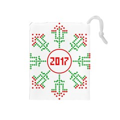 Snowflake Graphics Date Year Drawstring Pouches (medium)
