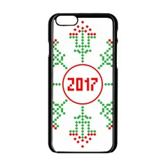 Snowflake Graphics Date Year Apple Iphone 6/6s Black Enamel Case