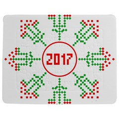 Snowflake Graphics Date Year Jigsaw Puzzle Photo Stand (rectangular)