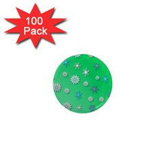 Snowflakes Winter Christmas Overlay 1  Mini Magnets (100 Pack)