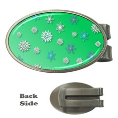 Snowflakes Winter Christmas Overlay Money Clips (oval)