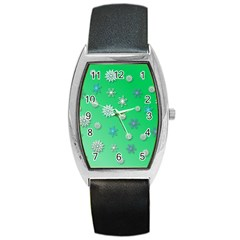 Snowflakes Winter Christmas Overlay Barrel Style Metal Watch