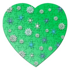 Snowflakes Winter Christmas Overlay Jigsaw Puzzle (heart)