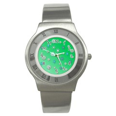 Snowflakes Winter Christmas Overlay Stainless Steel Watch