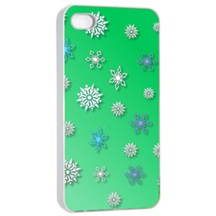 Snowflakes Winter Christmas Overlay Apple Iphone 4/4s Seamless Case (white)