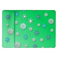 Snowflakes Winter Christmas Overlay Samsung Galaxy Tab 10 1  P7500 Flip Case