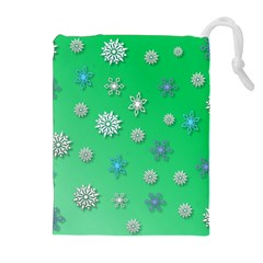 Snowflakes Winter Christmas Overlay Drawstring Pouches (extra Large)