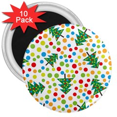 Pattern Circle Multi Color 3  Magnets (10 Pack)