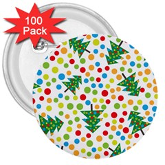 Pattern Circle Multi Color 3  Buttons (100 Pack)