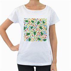 Pattern Circle Multi Color Women s Loose Fit T Shirt (white)