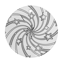 Star Christmas Pattern Texture Round Ornament (two Sides)
