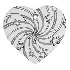 Star Christmas Pattern Texture Heart Ornament (two Sides)