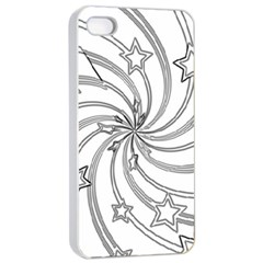Star Christmas Pattern Texture Apple Iphone 4/4s Seamless Case (white)