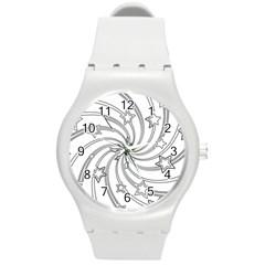 Star Christmas Pattern Texture Round Plastic Sport Watch (m)
