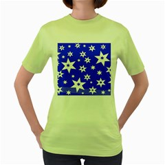 Star Background Pattern Advent Women s Green T Shirt